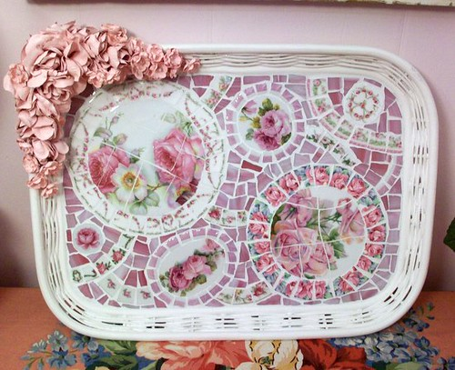 Sweet Wicker Tray with Silk Roses and China Mosaic | by Grindstone Mountain Mosaics