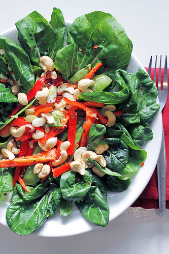 Baby Pak Choi, Mange Touts and Red Pepper | by Salad Pride
