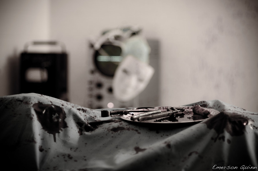 Table >> bloody sheet over a dead body on the operating table   Flickr