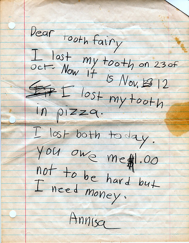 Possibly the best letters to the Tooth Fairy of all time | by passiveaggressivenotes
