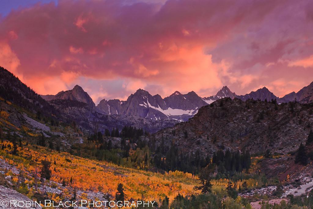 Fiery Autumn Sunset Over The Evolution Range Eastern Sier