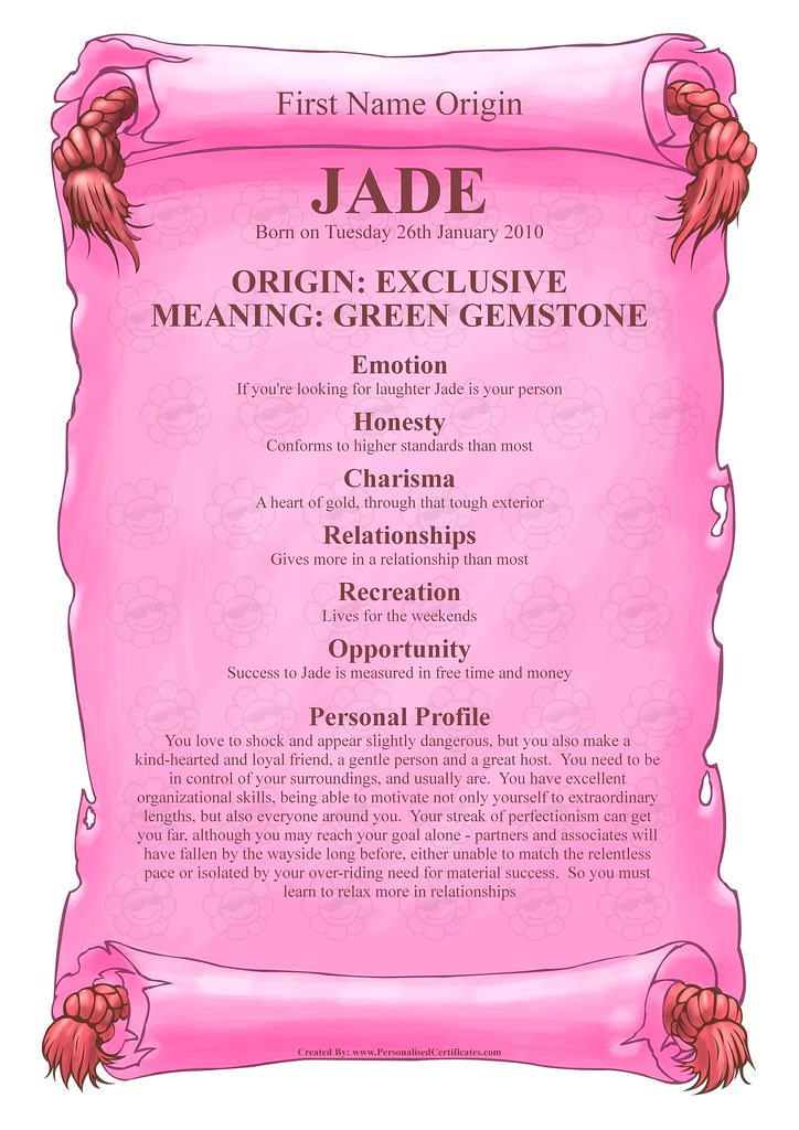 Jade - Name Meaning | Personalised Certificates | Flickr