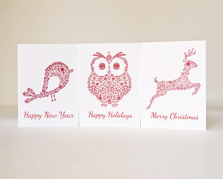 Greeting cards Animals series Red silhouettes Holidays animals Woodland Handmade | by geraldineadams