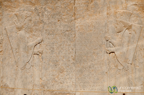 Cuneiform Writing with Persian Soldiers - Persepolis, Iran | by uncorneredmarket