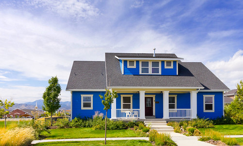 New blue bungalow house modern blue bungalow home in for Brick selection for houses