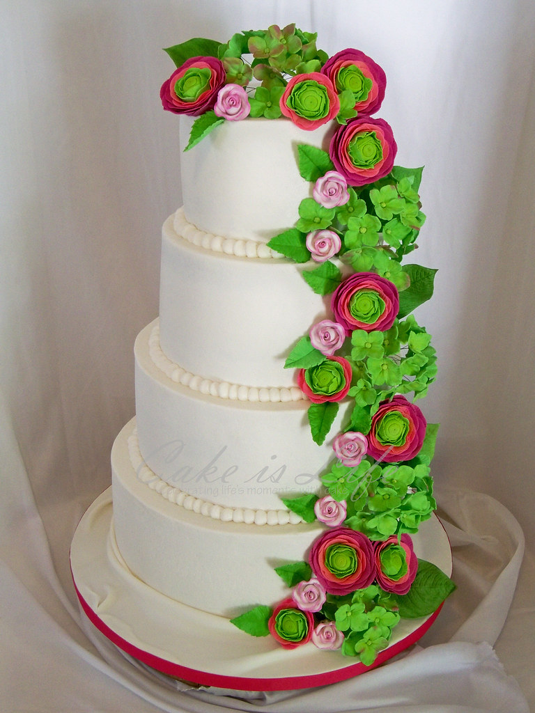 Pink and Green Flowered Wedding Cake | 10/2011: Flavors were… | Flickr