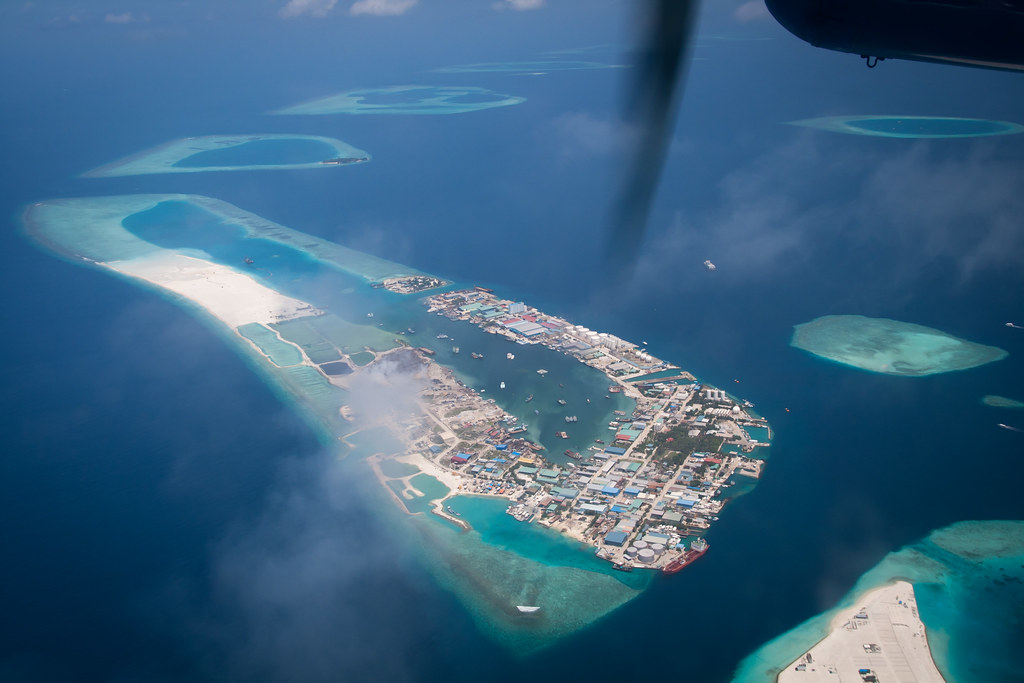 View from the sea plane: Thilafushi