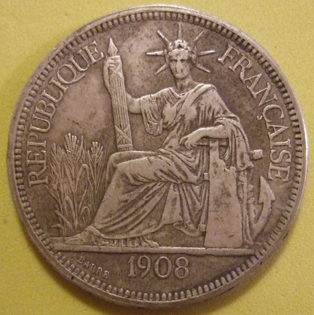 French Indochina 1908 Piastre Silver Dollar Sized Coin