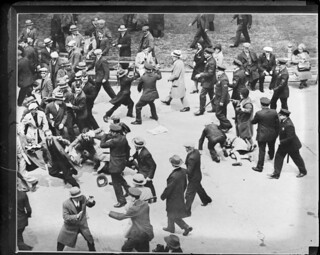 """Reds"" and police brawl in Battery Park in New York at protest of deportation of Chinese Communist Tao Tshung-Li 
