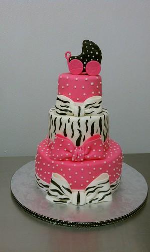 hot pink polkadots zebra baby shower cake by little sugar bake