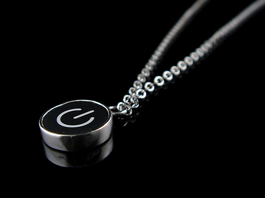 power standby necklace computer key jewelry black