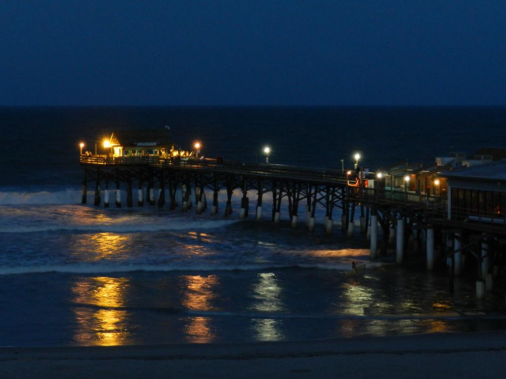 Cocoa Beach FL Pier At Night