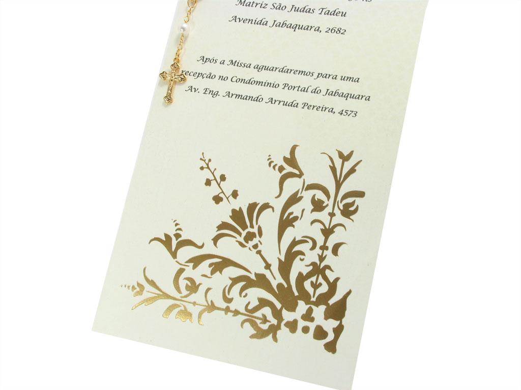 Convite De Batizado Dourado Feito Em Papel Scrap Com Detal Flickr