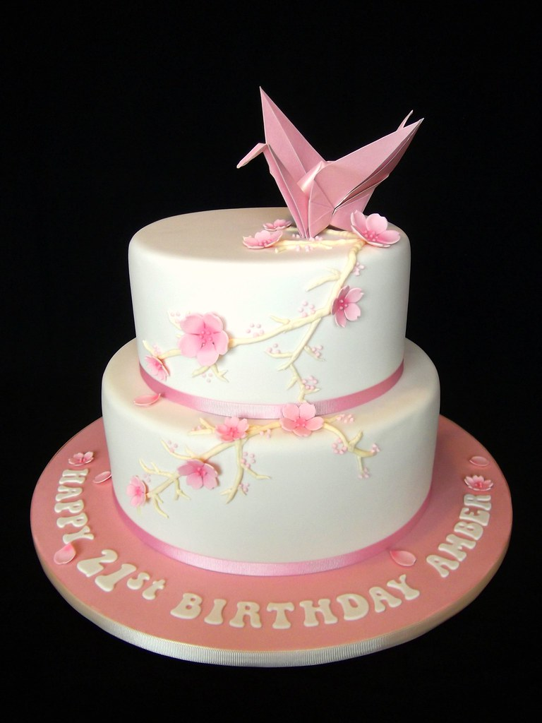 Paper Crane And Cherry Blossoms I Made This Cake For My Mu Flickr