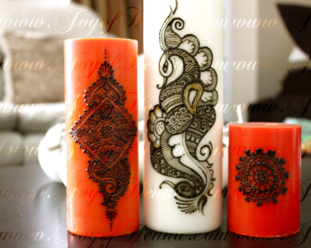 Mehndi For Candles : Henna candles by joy of can you see the photo