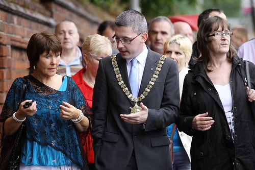 Belfast Lord Mayor with abuse survivors outside site of Nazareth House, Belfast | by survivorsni