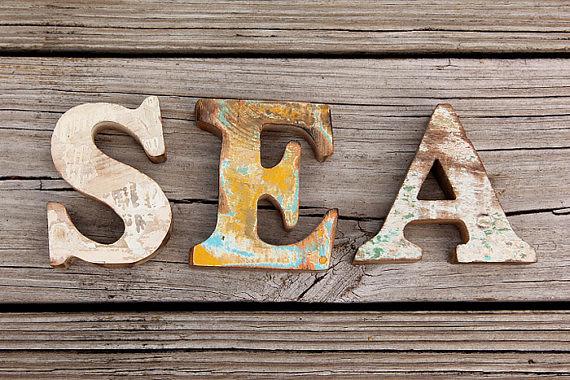 Sea Sign Beach Decor Vintage Nautical Wooden Letters Set B Flickr