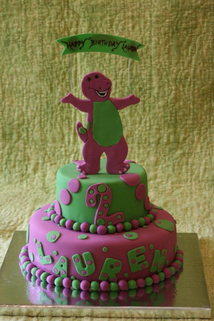 Barney Cake Lauren S 2nd Birthday Cake Barney Is Made