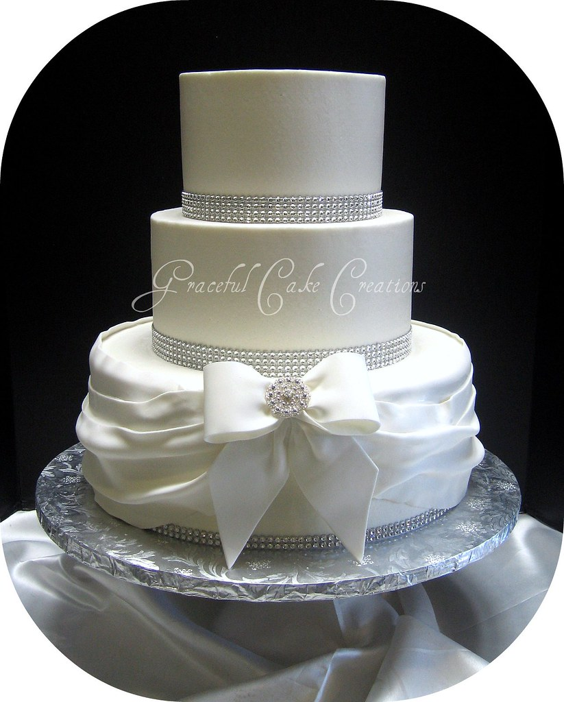 White Wedding Cake With Gold Polka Dot