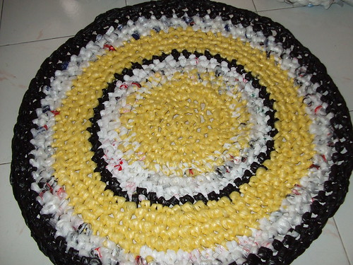 Crocheted rug of shopping bags | by This Dame Cooks