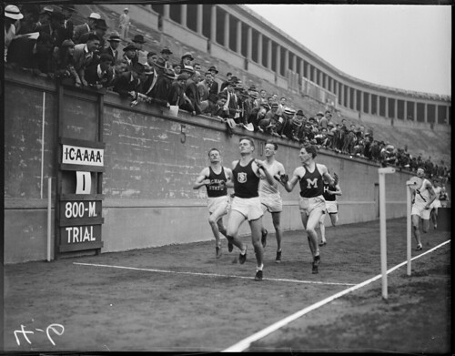 Finish line during collegiate track meet, Harvard Stadium | by Boston Public Library