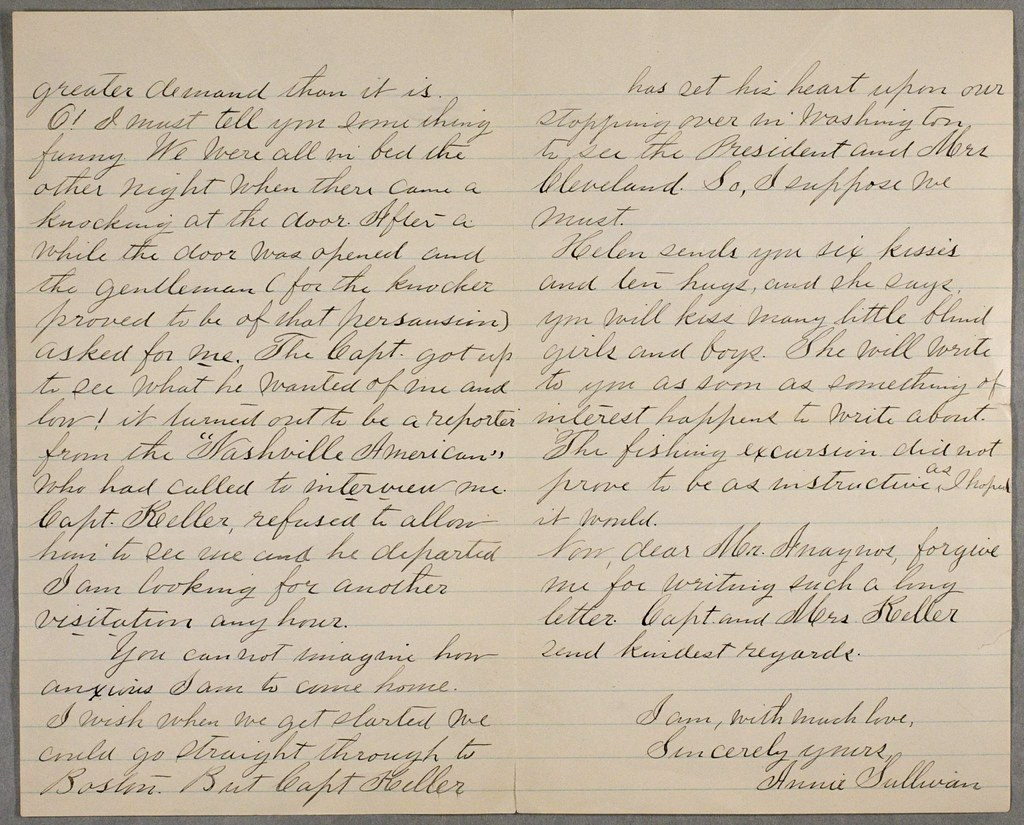 6 Letter from Anne Sullivan to Michael Anagnos April 2 1888 (p. 6  sc 1 st  Flickr & Letter from Anne Sullivan to Michael Anagnos April 2 188u2026 | Flickr