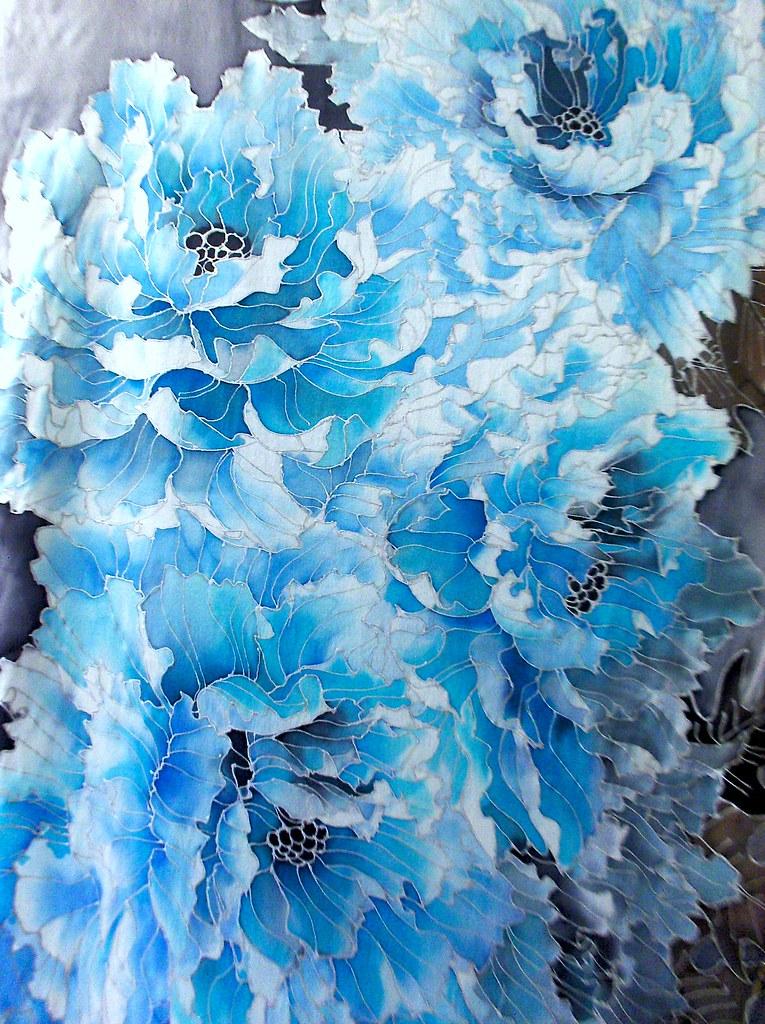 Blue Peonies Wall Art By Takuyo Blue Peonies Wall Art By