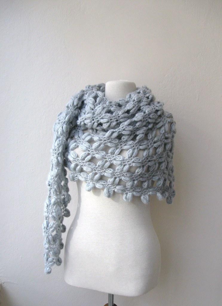 Hand Crochet Triangle Bubble Shawl Mohair Yarn Light Grey Flickr