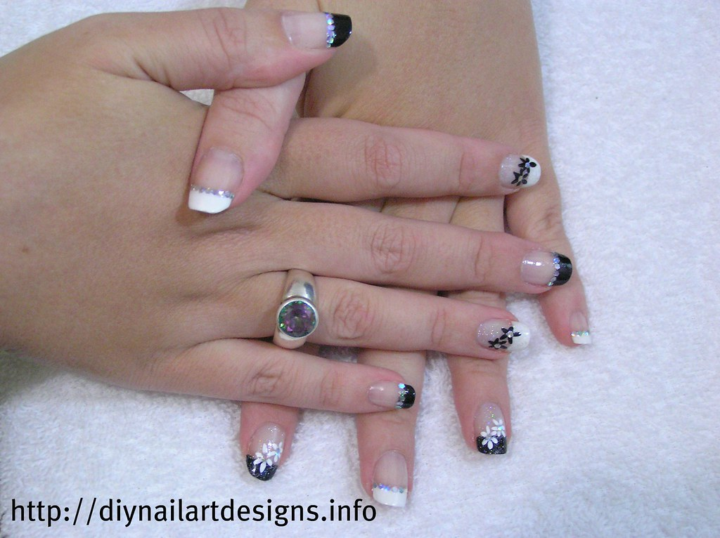 DIY Nail Art Designs Black And White French Manicure With Hand Painted Flowers Glitter