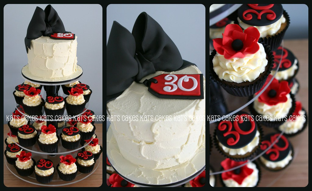 Red Black 30th Birthday Cupcake Tower This cupcake tower Flickr