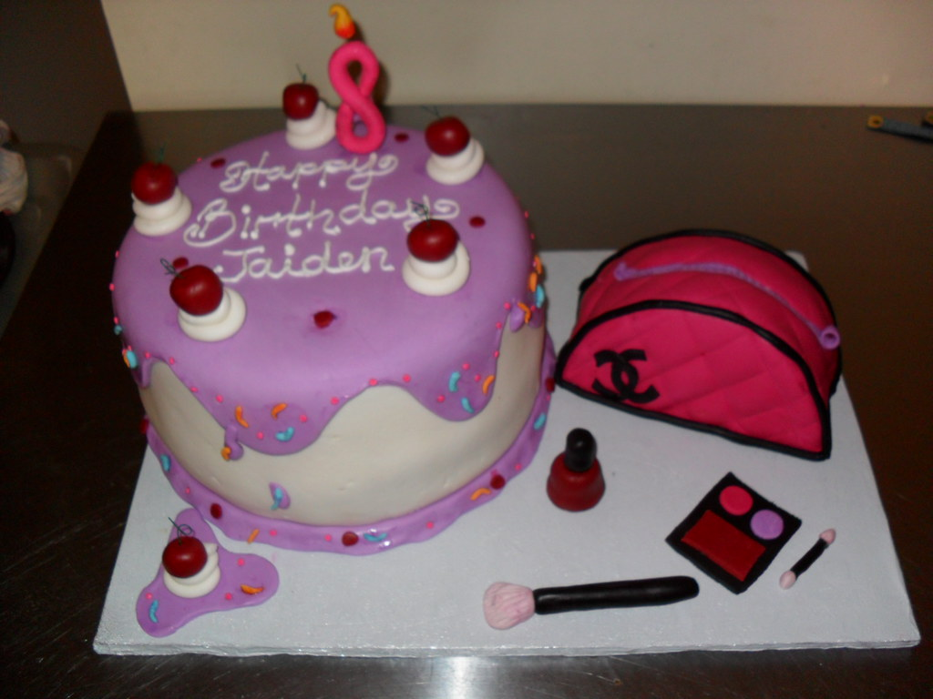 Girly Birthday Cake with Makeup and Cherries inspiration f Flickr