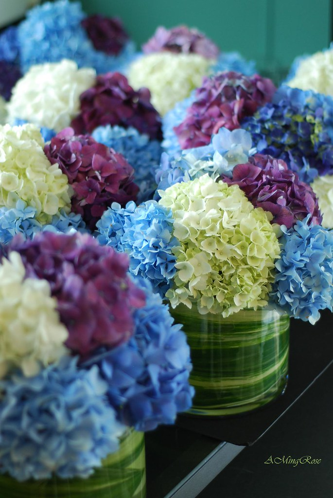 Hydrangea Centerpieces Blue Purple Amp White