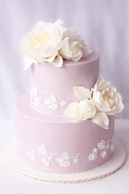 Lilac And Lace Wedding Cake Two Tier Chocolate Mud Cake