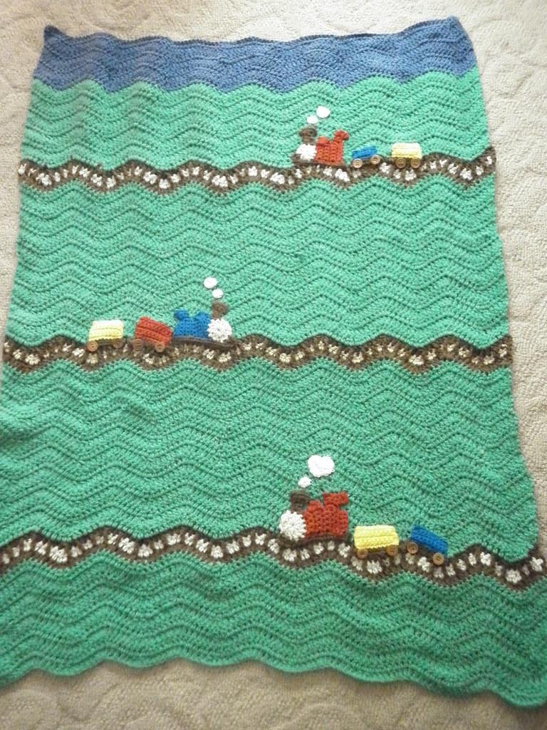 Knitting Pattern Train Blanket : Ta Dah! Choo Choo Dreaming Blanket for my nephew as part ...