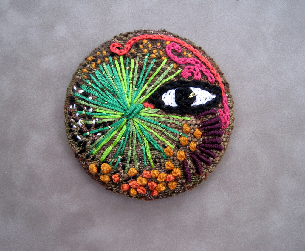 Freeform embroidery over a metal pinback button | Freeform e… | Flickr