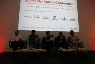 "Panel discussion about ""Social Media in Workplace and Employee Communications"" at #SWCONF 