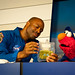 Former Astronaut Leland Melvin speaks with Elmo (201107060003HQ)