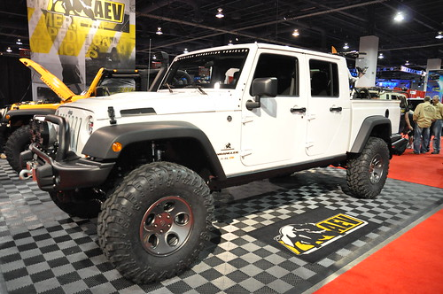 2011 White Jeep Wrangler 4 door with a custom pickup bed ...