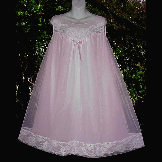 Pink Vintage Chiffon Nightgown So Girly And Sweet Perfect Sissy Princess In Size Xl