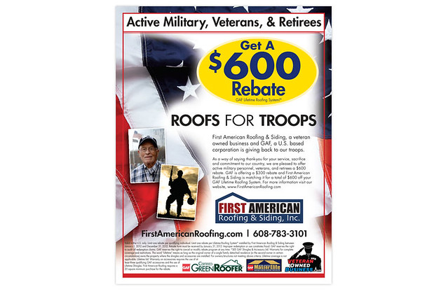 Flyer First American Roofing Amp Siding Roofs For Troops