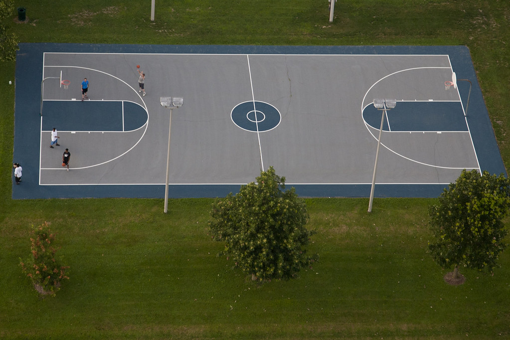 Basketball court one of the outdoor basketball courts on for Outdoor sports court