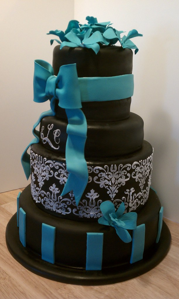 Black, white, and teal wedding cake | Black, white, and teal… | Flickr