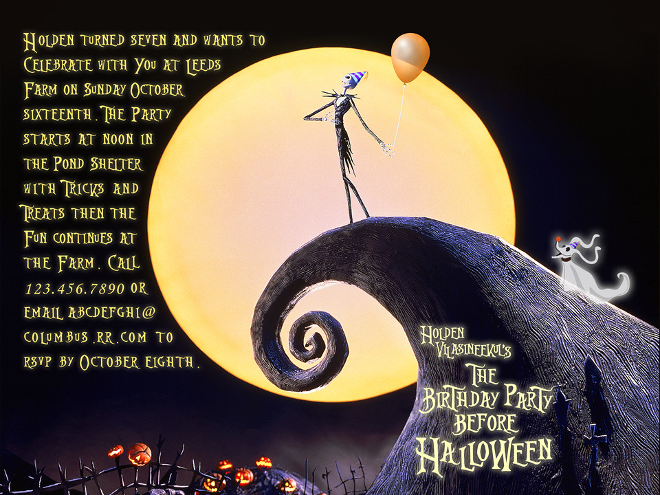 Nightmare Before Christmas Birthday Invitation Holdens 7t – Nightmare Before Christmas Birthday Invitations