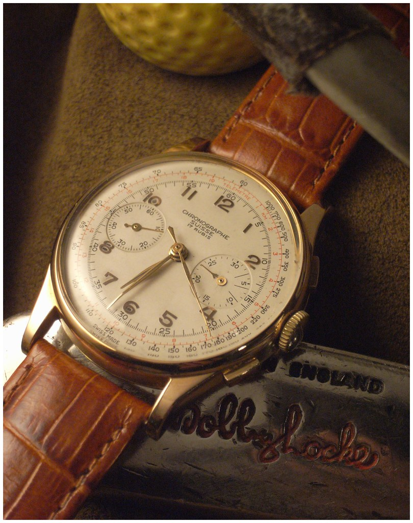 chronographe suisse or landeron 48 circa 1950 montresvin flickr. Black Bedroom Furniture Sets. Home Design Ideas