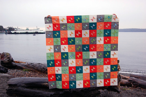 """Rainbow Pop"" bow-tie quilt top 