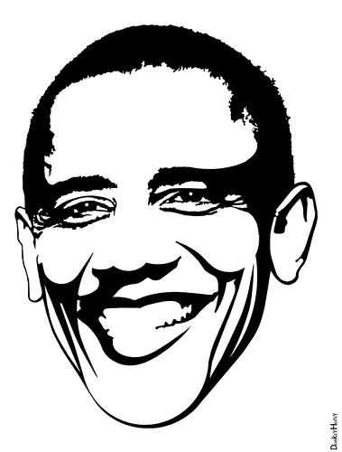 Obama Cartoon Face Black And White