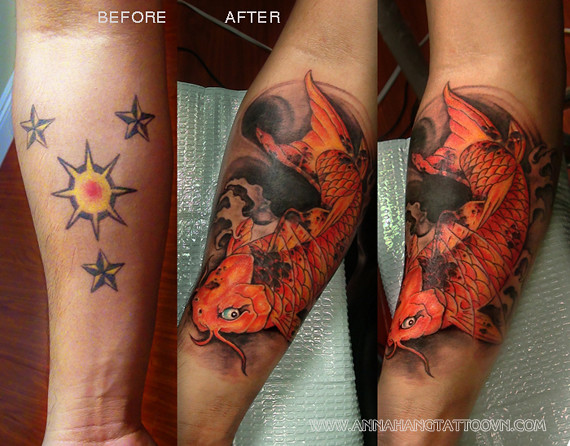 Tattoo design cover up koi fish annahangtattoo flickr for Koi fish cover up