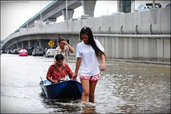 Flood disaster victims at Nonthaburi