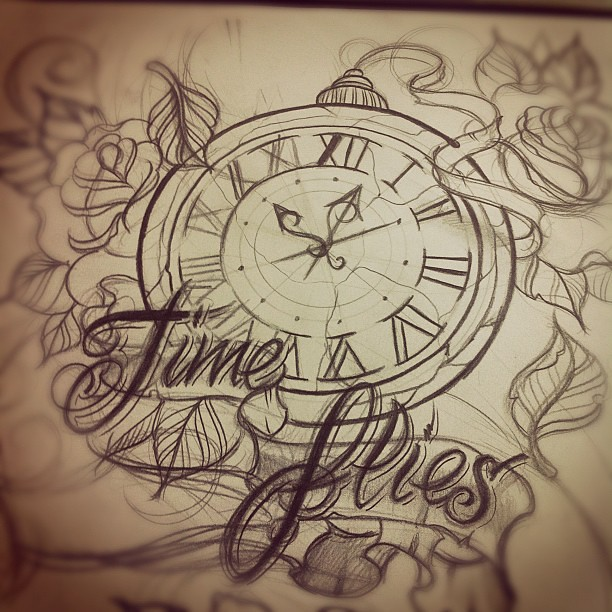 time flies tattoo design sketch time timeflies tattoo flickr. Black Bedroom Furniture Sets. Home Design Ideas