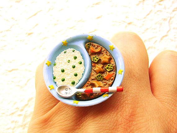 Miniature Food Rings Cute Handmade Miniature Food